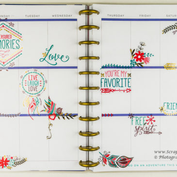 Large Stickers in a Planner Spread